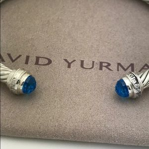 DAVID YURMAN 5mm BLUE TOPAZ DIAMOND PRINCESS COLL